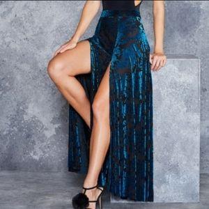 Blackmilk Blue Burned Velvet Sexy Split Maxi Skirt